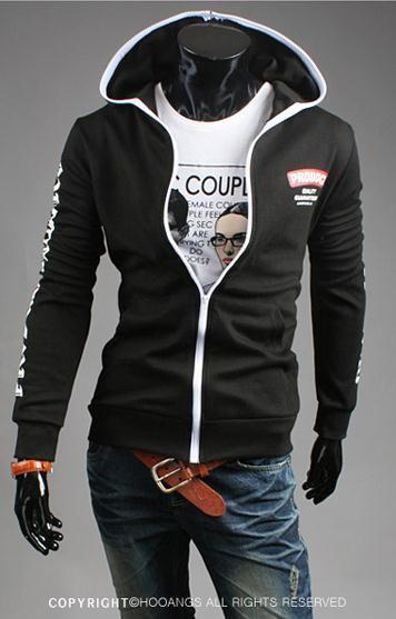 Men's Full Zip Sweatshirt With Zipper and Hoodie Colored Outline - TrendSettingFashions   - 3