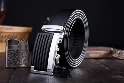 Genuine Leather Black/Silver Fashion Belt - TrendSettingFashions