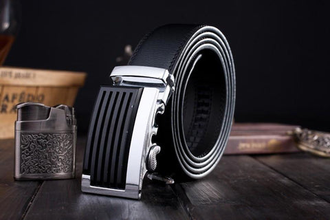Genuine Leather Black/Silver Fashion Belt