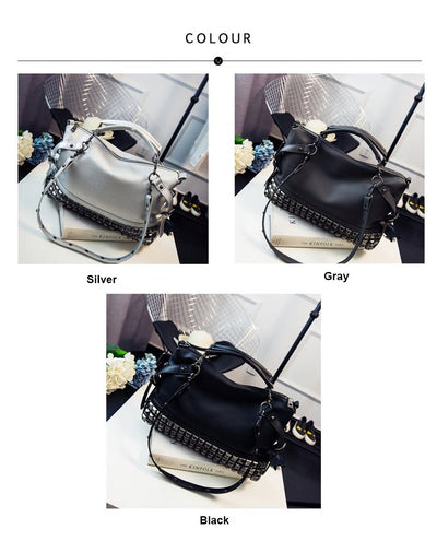Women's Rivet Patchwork Casual Shoulder Bag