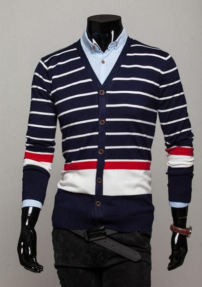 Men's Striped Cardigan - TrendSettingFashions