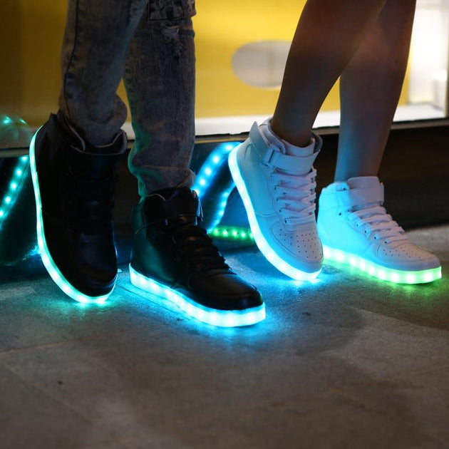 LED Glow Fashion High Tops With 8 LED Color Options Included!! - TrendSettingFashions