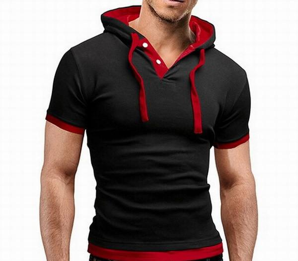 Men's Short Sleeved Hooded T-Shirts With 8 Color Options - TrendSettingFashions   - 8