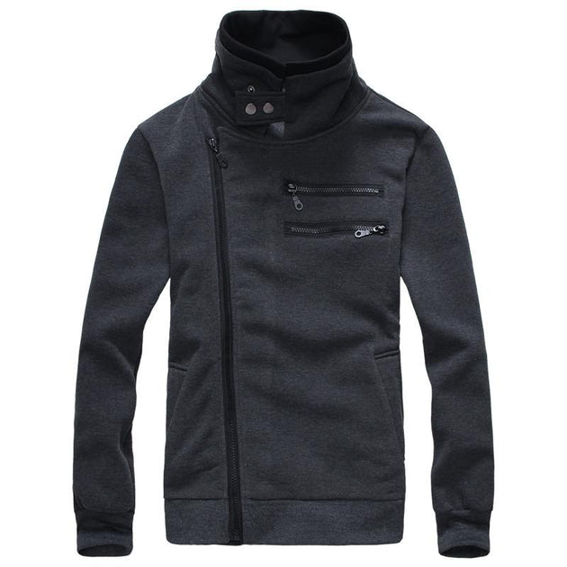 Men's Right Hand Zip with High Collar - TrendSettingFashions   - 4