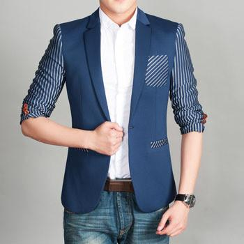 Men's Unique Stripe Blazer With Pocket Feature - TrendSettingFashions