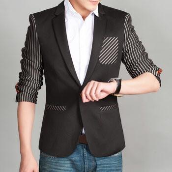 Men's Unique Stripe Blazer With Pocket Feature - TrendSettingFashions   - 1