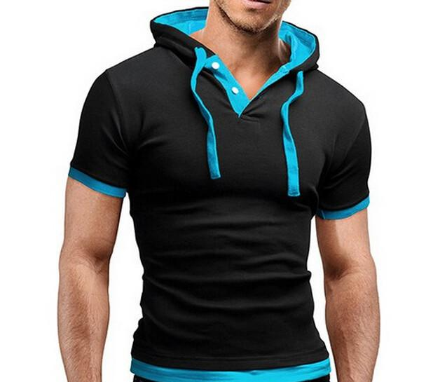 Men's Short Sleeved Hooded T-Shirts With 8 Color Options - TrendSettingFashions   - 2