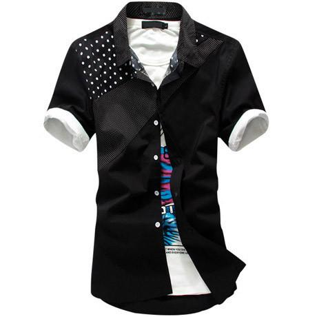 Men's Short Sleeve Shirt With Lapel Stitching - TrendSettingFashions