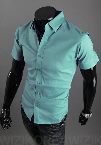 Short Sleeve Solid Business Men Shirt - TrendSettingFashions   - 3