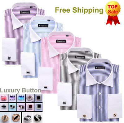 Men's French Cut Striped Dress Shirt with Luxury Button Cuffs - TrendSettingFashions   - 1