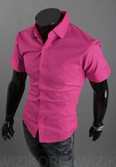 Short Sleeve Solid Business Men Shirt - TrendSettingFashions   - 5