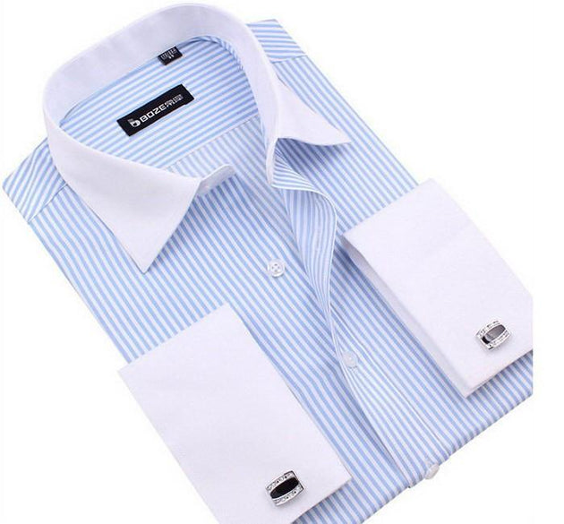 Men's French Cut Striped Dress Shirt with Luxury Button Cuffs - TrendSettingFashions   - 2