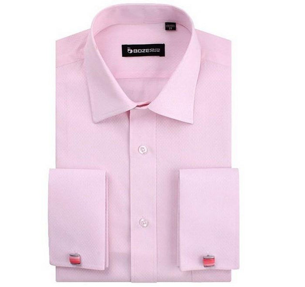 Men's French Cut Striped Dress Shirt with Luxury Button Cuffs - TrendSettingFashions   - 5