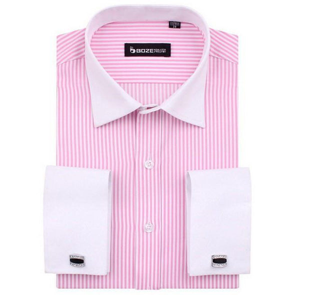 Men's French Cut Striped Dress Shirt with Luxury Button Cuffs - TrendSettingFashions   - 7