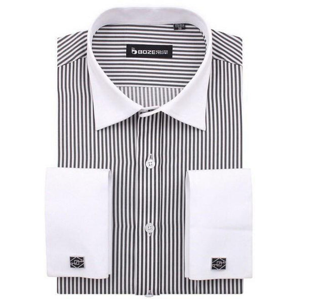 Men's French Cut Striped Dress Shirt with Luxury Button Cuffs - TrendSettingFashions   - 11