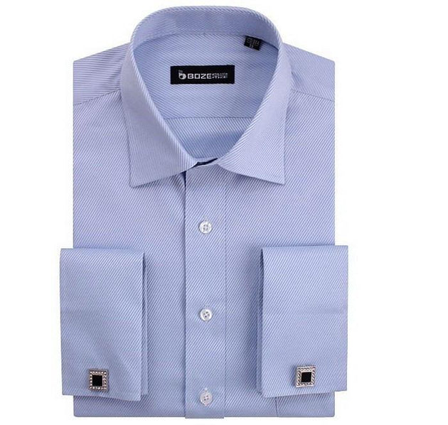 Men's French Cut Striped Dress Shirt with Luxury Button Cuffs - TrendSettingFashions   - 12