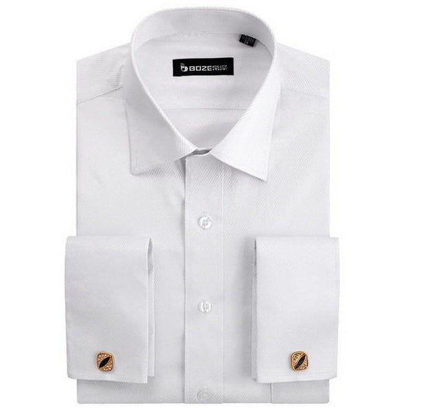 Men's French Cut Striped Dress Shirt with Luxury Button Cuffs - TrendSettingFashions   - 4