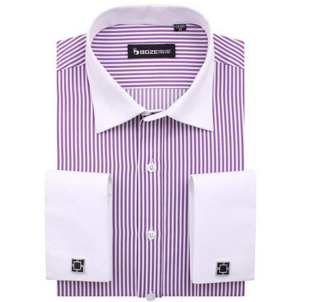Men's French Cut Striped Dress Shirt with Luxury Button Cuffs - TrendSettingFashions   - 6