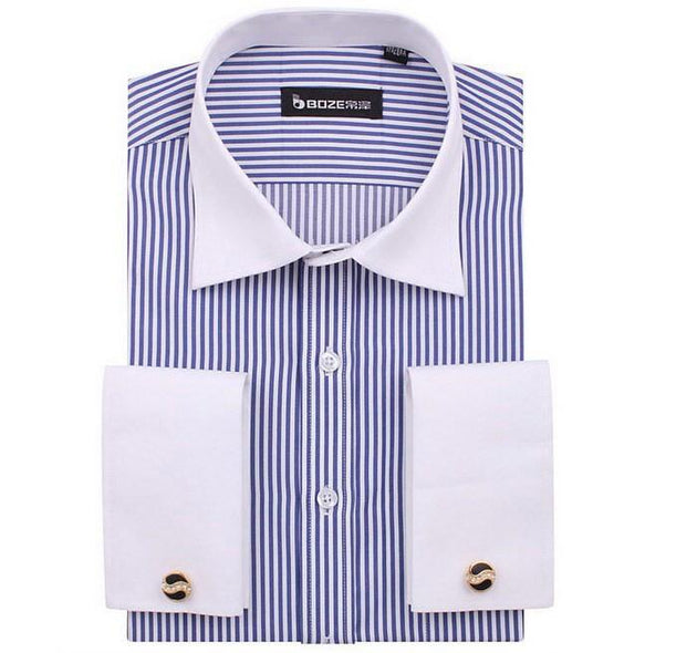 Men's French Cut Striped Dress Shirt with Luxury Button Cuffs - TrendSettingFashions   - 8