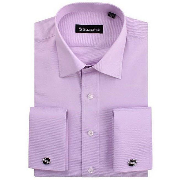 Men's French Cut Striped Dress Shirt with Luxury Button Cuffs - TrendSettingFashions   - 9