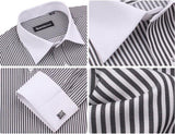 Men's French Cut Striped Dress Shirt with Luxury Button Cuffs - TrendSettingFashions   - 10