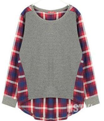 Casual Patchwork Plaid Loose Fitting Top