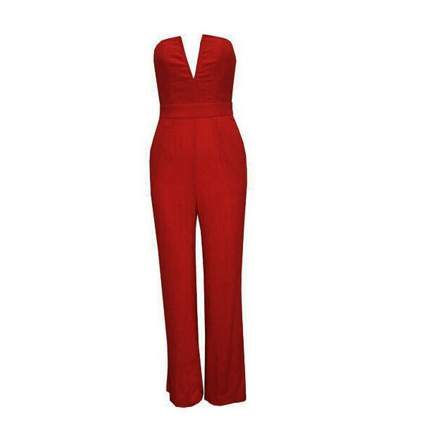 Women's V-Neck Plunge Jumpsuit in 4 Colors - TrendSettingFashions