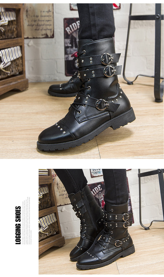 Men's High Decoration Buckle Boot In 2 Colors Up To Size 10.5 - TrendSettingFashions