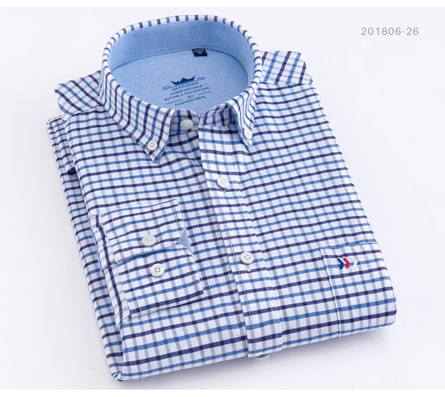 Men's Plaid Cotton Dress Shirt - TrendSettingFashions