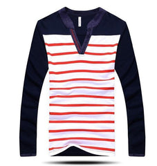Men's V-Neck Fashion Stripe Shirt - TrendSettingFashions   - 1