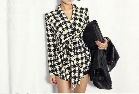 Light Weight Asymmetrical Houndstooth Jacket