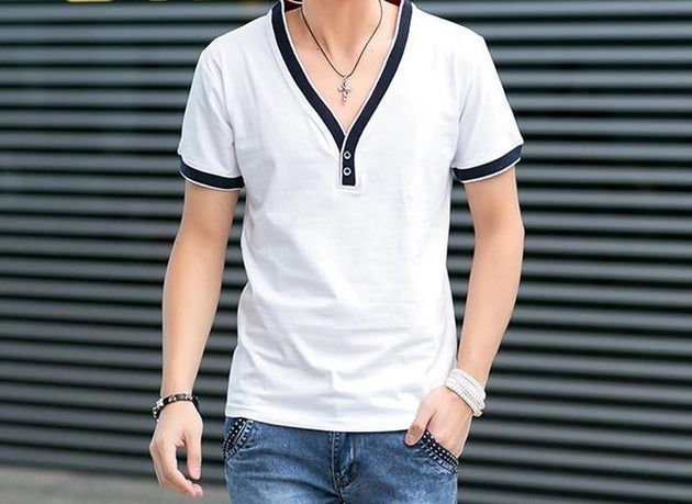 Men's Low Cut V-Neck T-Shirt - TrendSettingFashions   - 1
