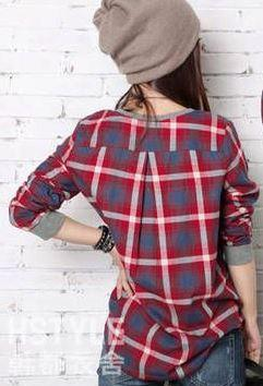 Women's Casual Patchwork Plaid Loose Fitting Top - TrendSettingFashions