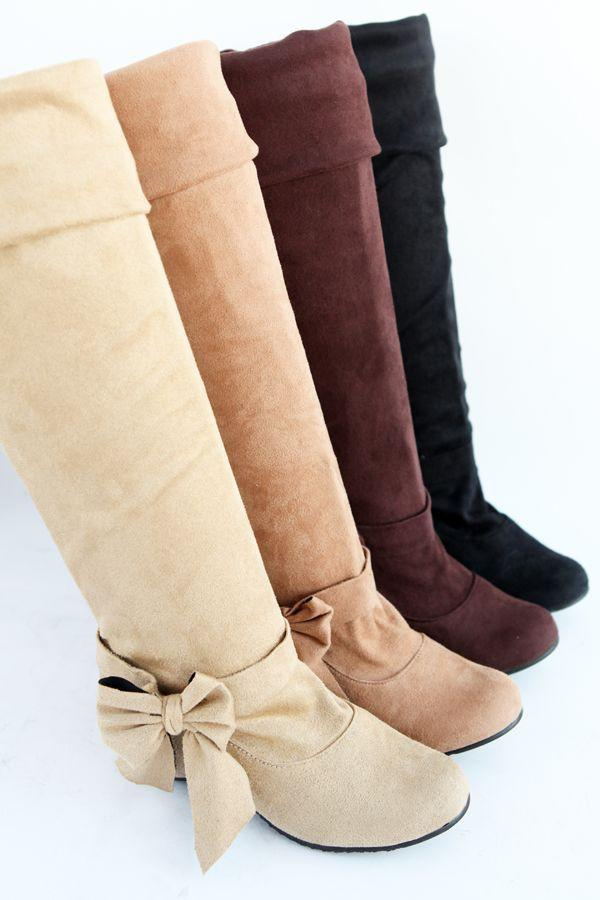 Women's Sexy Bow Tie Knee High Boot - TrendSettingFashions