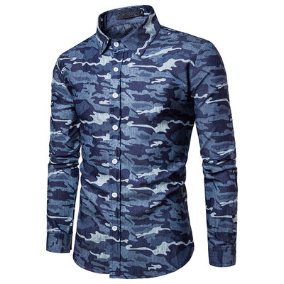 Men's Camouflage Print Washed Jean Shirt - TrendSettingFashions