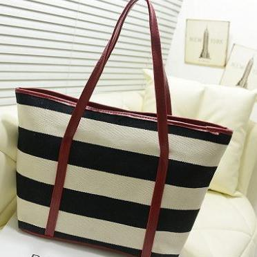 Women's Jet Set Travel Striped Saffiano Tote - TrendSettingFashions