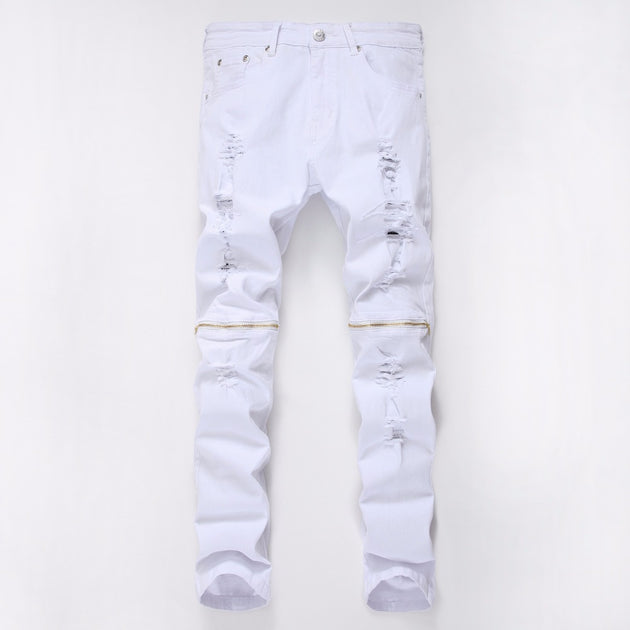 Men's Loose Fit Elastic White Jeans - TrendSettingFashions