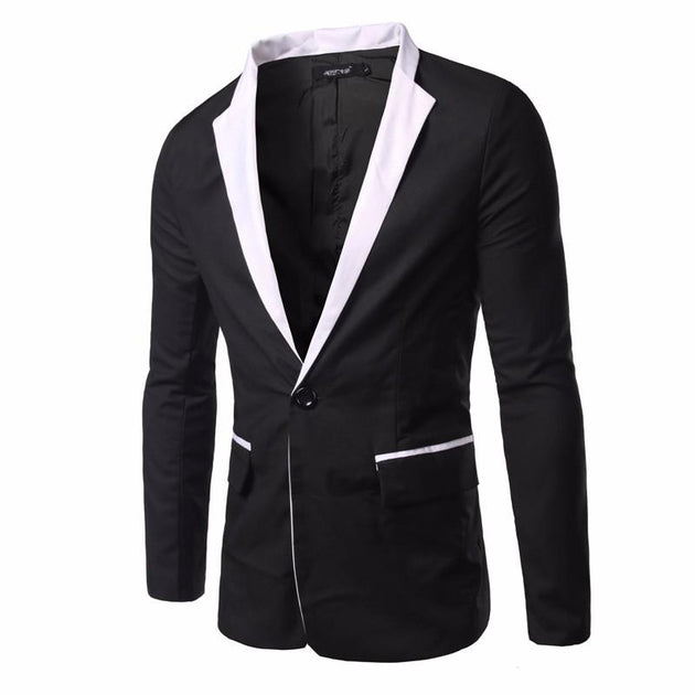 Men's Casual Black and White Suit Jacket - TrendSettingFashions