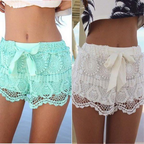 Lace Crochet Shorts - TrendSettingFashions   - 1