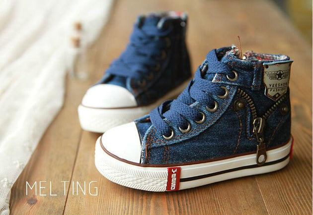 Denim Jeans Zip Up Casual Shoe - TrendSettingFashions