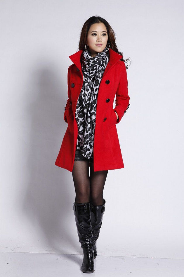 Women's Classy Double Breasted Pea Coat - TrendSettingFashions