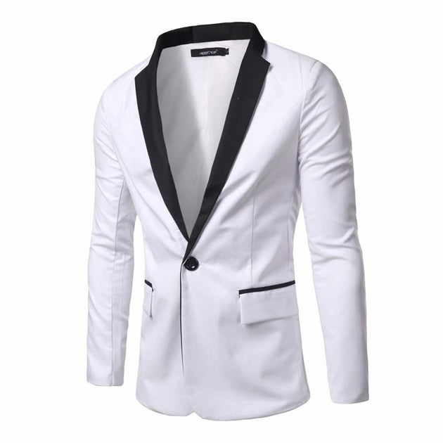 Mens Casual Black And White Suit Jacket