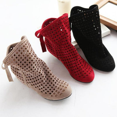 Women's Cutout Ankle Boots With Inside Wedge - TrendSettingFashions