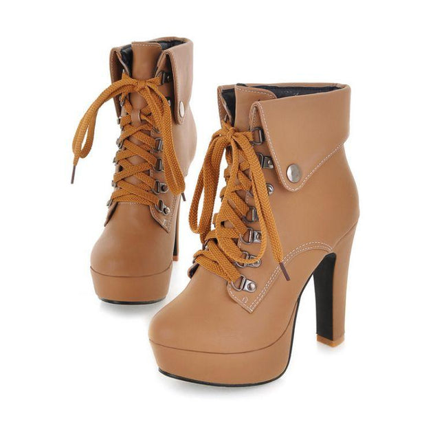Women's City Slicker Lace Up Boots - TrendSettingFashions