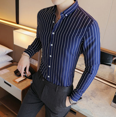 Men's Fashion Button Down With Colored Collar Up To 4XL