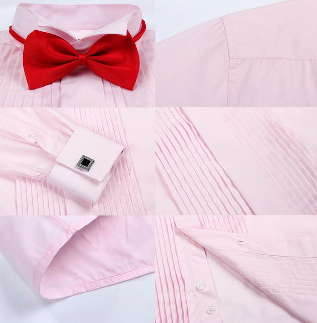 Men's London Busines Shirt With Solid Tie - TrendSettingFashions   - 8