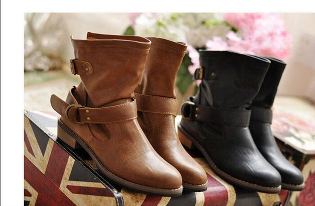 Women's Vintage Leather Ankle Boots - TrendSettingFashions