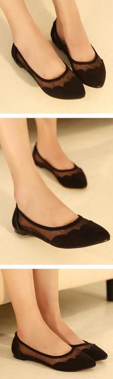 Women's Sweet Lace See-Through Flats - TrendSettingFashions