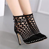 Women's Lacing Cut-Outs Ankle Boots - TrendSettingFashions