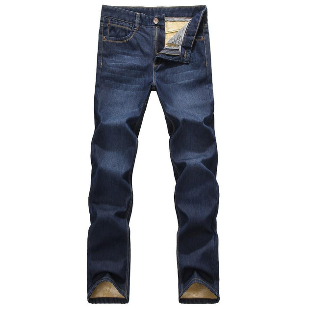 Men's Velvet Lined Straight Jeans - TrendSettingFashions